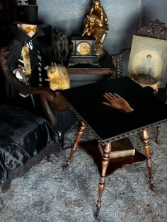 Antique Claw Foot Palm Reader's Table This table would be simple to make. you can buy similar turned legs at Lowes, and a piece of square wood, then it's paint and stain. Art Nouveau, Cabinet Of Curiosities, Gothic House, Glass Ball, Decoration, Interior Inspiration, Dollhouse Miniatures, Sweet Home, Dining Table