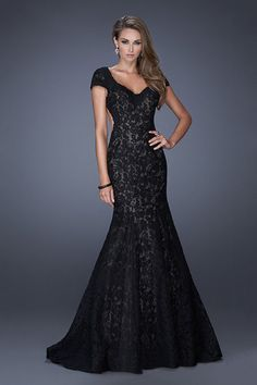 2014 Formal Dresses Mermaid Long Black & Red Lace Open Back