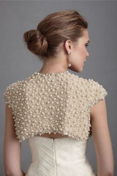 Bolero with large embroidered pearls