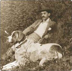 George Vanderbilt and his faithful companion and beloved Saint Bernard on the grounds of Biltmore.