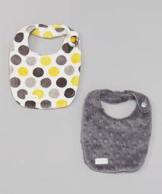 Look what I found on #zulily! Yellow & Gray Polka Dot Bib Set by Polka Dot Moon #zulilyfinds