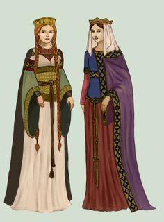 Ilustração dos trajes femininos da época medieval, onde a mulher apresentava-se com a cabeça coberta e com simples véus de linho. É importante realçar que mulheres com condições financeiras escassas exibiam menos sofisticação quanto às mulheres com mais posses, estas utilizavam rendas e fios de ouro.