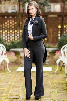 When a formal dress just won't do for your cocktail event, opt for a fab tuxedo look! Feast your eyes on our Turie Tuxedo Blazer! This fab blazer is fully lined and features an open lapel collar with long sleeves and a dramatic tail with a flirty split. This jacket has a sophisticated, tailored fit that is to die for! Go for a full classic look and pair this blazer with our Saint High Waist Pants and Lynn Pleated Tux Button Down Shirt. Throw on a fab red lip and your fav black pumps!