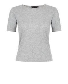 Grey Ribbed T-Shirt  | New Look