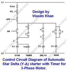 On off three phase motor connection power control diagrams 3 phase motor starting method by automatic star delta starter operation and working principle swarovskicordoba Gallery