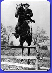 Roosevelt riding his horse through the pastures and over fences.
