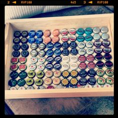 Tray with bottle caps