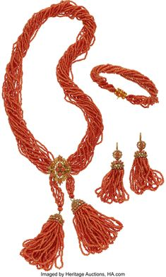 Antique Coral, Gold Jewelry Suite