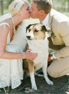 A bride, groom and a puppy! | Elegantly Rustic Wedding at Devils Thumb Ranch on Wedding Chicks — Loverly Weddings