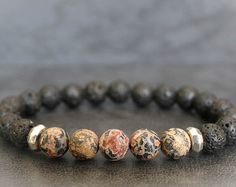 Check out our men beaded bracelet selection for the very best in unique or custom, handmade pieces from our shops. Lava Bracelet, Stone Bracelet, Bracelet Making, Hematite Bracelet, Stretch Bracelets, Bracelets For Men, Leather Bracelets, Beaded Jewelry, Beaded Bracelets