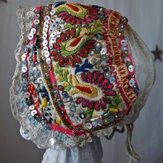 Czech Moravian 20's Hand Made Embroidered Sequined Beaded Woman's Bonnet. $124.00, via Etsy.