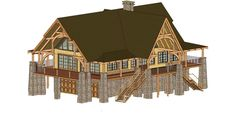 Wolf Pack Lodge Front Elevation -- Natural Element Homes Metal House Plans, House Floor Plans, Log Cabin Plans, Log Homes, Barn Homes, Design Department, Front Elevation, Metal Homes, Home Decor Inspiration