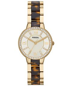 Fossil Women's Virginia Tortoise Acetate and Gold-Tone Stainless Steel Bracelet…