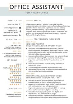 Resume Examples Office Office Assistant Resume Example Writing Tips Resume Genius Resume Writing Tips, Resume Skills, Resume Tips, Free Resume, Resume Review, Cv Tips, Writing Guide, Resume Ideas, Resume Help
