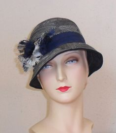 Vintage French 1920's Navy Felt Cloche with White by eakeating, $95.00