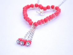Coral Colour Heart Pendant FREE UK by PhillipaJaneDesigns on Etsy