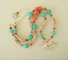 Boho Southwest Necklace Turquoise Jewelry American by BohoStyleMe