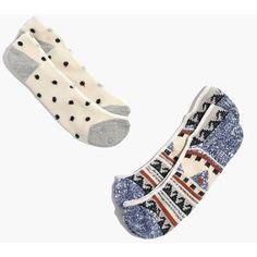 MADEWELL Two-Pack Kilim Low Profile Socks ($9.50) ❤ liked on Polyvore featuring intimates, hosiery, socks, rustic grey, madewell, print socks, patterned socks, low socks and gray socks