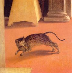 detail of the cat from The Annunciation by Lorenzo Lotto