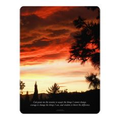 Serenity Prayer Sunset Red Clouds Card - invitations custom unique diy personalize occasions