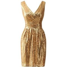 JAEDEN Simple Gold Bridesmaid Dresses Short Sequin Dress For Prom... (€34) ❤ liked on Polyvore featuring dresses, sequin cocktail dresses, sequin prom dresses, sequin party dresses, short bridesmaid dresses and gold prom dress