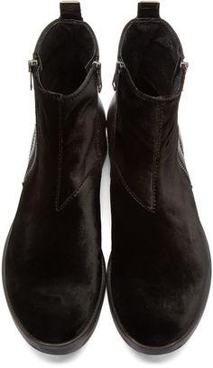 Diesel: Black Velvet & Leather Boots   SSENSE
