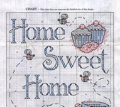 Schema punto croce Banner Sweet Home 02/04