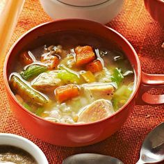 Chicken Dill Soup: A chicken soup with sweet potato, green beans, brown rice and fresh dill. Yum!