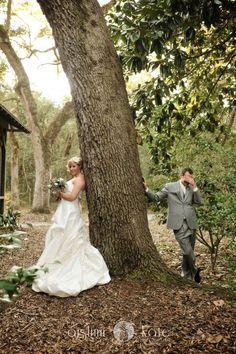 bride and groom first look  eden gardens state park  (destin, fl)