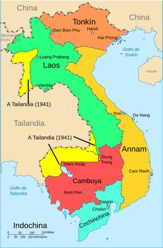 Tonkin was located in present-day northern Vietnam, shaded orange Vietnam History, Vietnam War, Ching Shih, Battambang Cambodia, Pakse, First Indochina War, Road Trip Map, Asia Map, Vientiane
