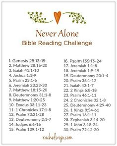 Never Alone Bible Reading Challenge