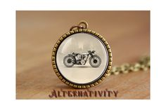 Old Motorcycle necklace Old Motorcycle Pendant by Alternativity