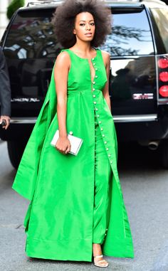 Contemporary wedding ootd-Solange Knowles from The Best of the Red Carpet  Color us pleased! Solange nails this vibrant emerald Rosie Assoulin design.