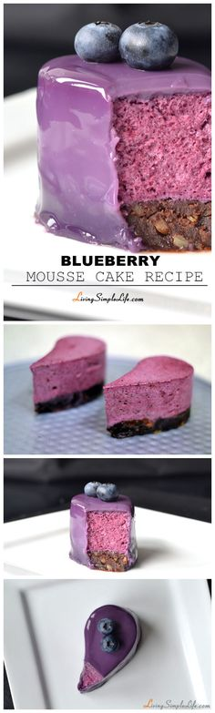 Blueberry Mousse Cake Recipe Blueberry mousse on a chocolate sponge glazeret with a blueberry milk glaze. Recipes at below, enjoy! Fancy Desserts, Sweet Desserts, No Bake Desserts, Just Desserts, Sweet Recipes, Delicious Desserts, Dessert Recipes, Summer Desserts, Summer Cake Recipes