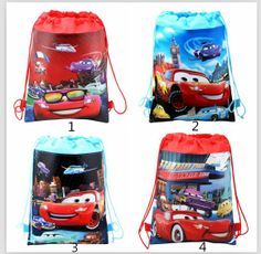 Cars Drawstring Woven Backpack. Size : 35 cm x 27 cm For tuition bag, Shopping Bag, Gym/Sport bag. Assorted design to choose To order for Birthday party bag / Treat bag, please contact us.