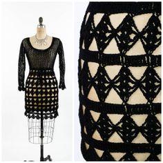 Vintage 80's Crochet Dress // Little Black Dress by SwellFarewell, $64.00
