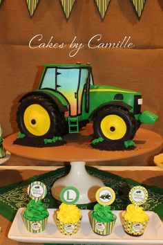 John Deere Tractor cake, John Deere birthday cake, sculpted tractor cake, Cakes by Camille
