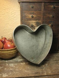 Large Old Metal Farm Kitchen Heart Shaped Baking Pan, from Hannah's House Antiques. I Love Heart, With All My Heart, Valentine Day Love, Valentines, Vintage Baking, Vintage Kitchen, Heart Crafts, Country Primitive, Heart Art