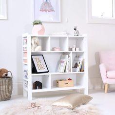 White Morris Bookshelf Bookshelves In Bedroom, White Bookshelves, Bookshelves Kids, White Shelves, Long Low Bookcase, Kids Storage Shelves, Toy Shelves, Rose Gold Room Decor, Storing Books