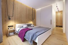 This colorful modern apartment includes bright pops of fuchsia and lime green as interior accents. Flat Interior Design, Contemporary Interior, Simple Bedroom Design, Bedroom Decor For Teen Girls, Bedroom Paint Colors, Suites, Awesome Bedrooms, Bedroom Wall, House Design