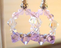 Glitzy Earrings, Glamourous, Holiday, Lavender, Swarovski crystal, pink crystals with stainless steel ear wires - Edit Listing - Etsy