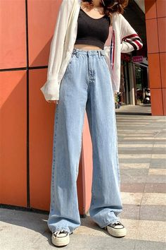 [Women] High Waist Wide Leg Denim Jeans Pants [Women] High Waist Wide Leg Denim Jeans Pants – Outfit Looks Indie Outfits, Cute Casual Outfits, Retro Outfits, Jean Outfits, Vintage Outfits, Fashion Outfits, Jeans Fashion, Vintage Jeans, Cute Pants Outfits