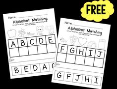 Free cut and paste alphabet matching worksheets - preschool and kindergarten ready!