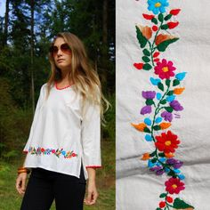 1970s Mexican Embroidered Shirt Floral Cotton Handmade Artisan Ethnic Hippie Boho Tunic Top, Vintage 70s Shirt, Oversized Bohemian Blouse by SurfandtheCity