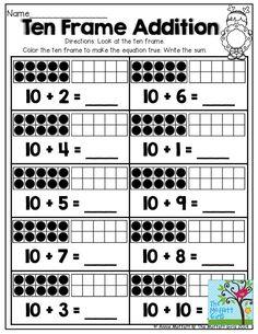 Ten Frame Kindergarten Worksheets Ten Frame Addition tons Of Printables that Help Teach Core Kindergarten Addition Worksheets, Preschool Worksheets, Printable Worksheets, Printables, Free Printable, Preschool Math, Kindergarten Activities, Teaching Math, Base Ten Activities