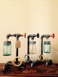 Your place to buy and sell all things handmade Pipe lamp switch. It fits any inch standard thread pipe, or larger diameter if you reduce it down. Its a rotary switch. Turn the valve t Pipe Lighting, Mason Jar Lighting, Industrial Lighting, Mason Jar Lamp, Industrial Style, Cool Lamps, Unique Lamps, Pipe Decor, Lamp Switch