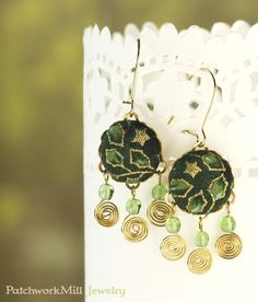 Dangle Earrings - Leaves and Stars - Christmas Green and Gold - Romantic Fabric Covered Buttons Earrings Czech Glass Beads  Christmas Gift by PatchworkMillJewelry
