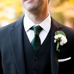 Groom Boutonniere - White and Green to complement emerald wedding scheme