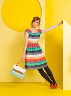 A snazzy striped dress.