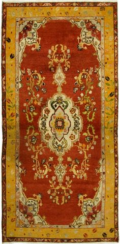 Product No: U-1944 Title: Antique Oushak Gallery Size Size: 4ft 04in X 8ft 10in